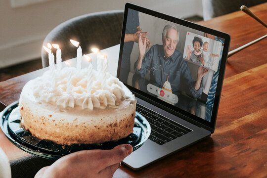 Virtual birthday party via video call on laptop in the new normal