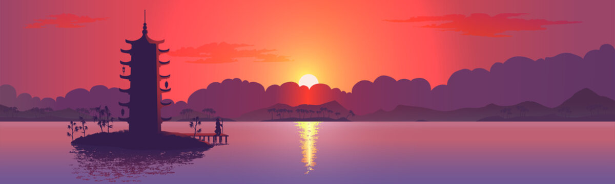 Tower silhouette with sunset. Realistic vector illustration background.