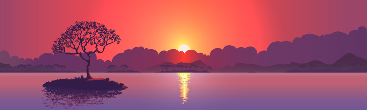 Sunset with a lone tree on the island. Realistic vector illustration background.