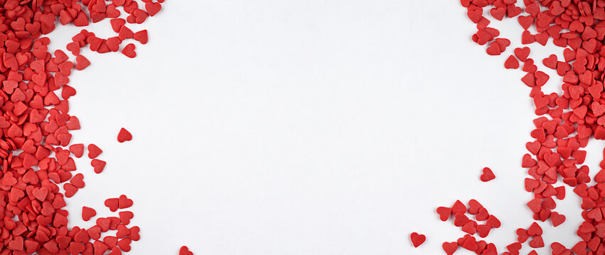 background for valentine's day with small hearts and copy space
