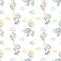 Watercolor seamless pattern with cute elephants on balloons in the clouds on a white background