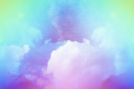 gradient halftone abstract background. sky and clouds vivid colors