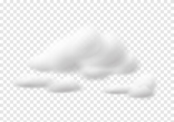 Obraz Realistic white cloud vectors isolated on transparency background, cotton wool ep99 - fototapety do salonu
