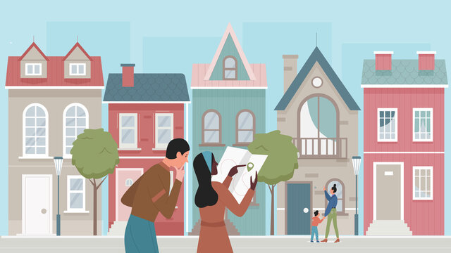 People tourists travel in old city vector illustration. Cartoon young woman traveler character holding map, couple enjoying city tour by famous architecture landmarks, sightseeing tourism background