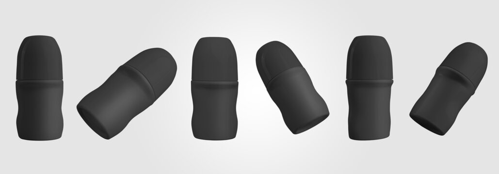 Mockup of black roll-on deodirant, matte plastic container with glossy lid, isolated on background.