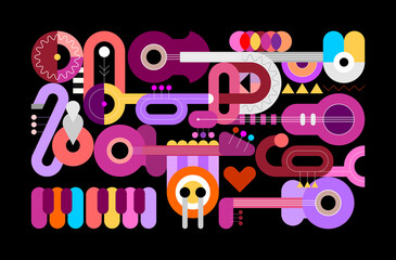 Geometric style graphic illustration of different musical instruments isolated on a black background. Graphic design with guitars, trumpets, sax, piano and drum.