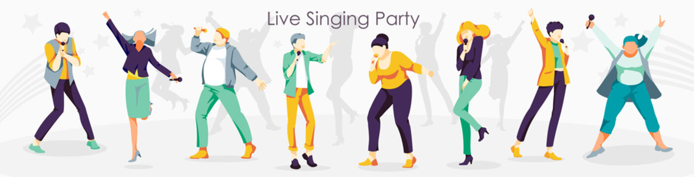 Live singing party. People singing song together with microphones. karaoke party, contest, competition, festival, live performance flat vector illustration