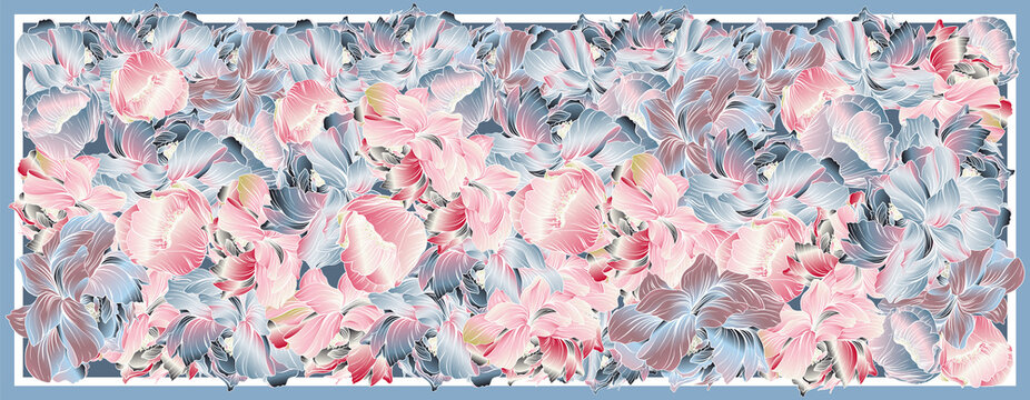 Delicate colors of silk scarf with flowering peony. Abstract seamless vector pattern with hand drawn floral elements. Trend colorful silk scarf with flowers. Size 180x70. Pink, blue, violet and white