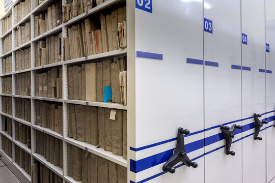 archive, file, registration , mobile shelves with documents. Archive or office