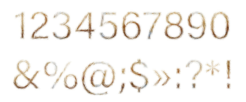 Numbers 1, 2, 3, 4, 5, 6, 7, 8, 9, 0 and symbols !  :  ?  made of red cat hair isolated on a white background. A set of numbers and symbols in a light brown wool font.