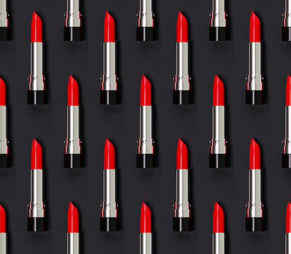 Seamless red lipstick pattern on a black background. 3d illustration. Beauty style.