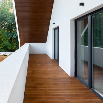 Home balcony with wooden floor