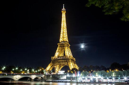 Evening illumination of the Eiffel Tower in Paris. September 15, 2020.