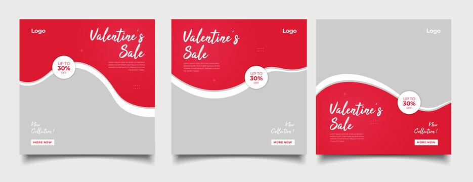 Valentine's sale concept instagram posters set
