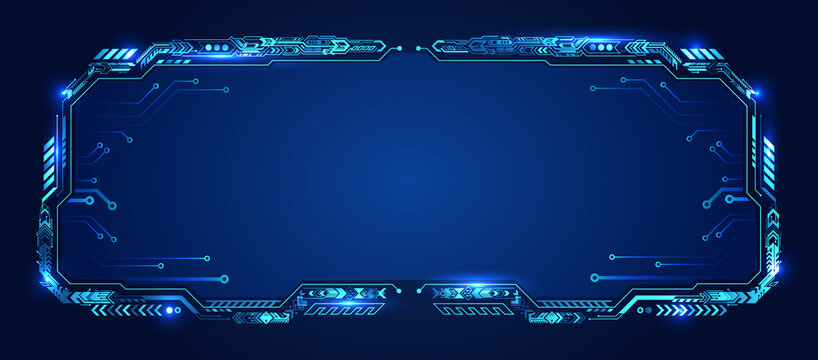 Futuristic hud technology interface. Abstract virtual cyber control display. Virtual reality Panel. Digital info boxes layout templates. High tech screen for your presentation. Sci-fi frame design.