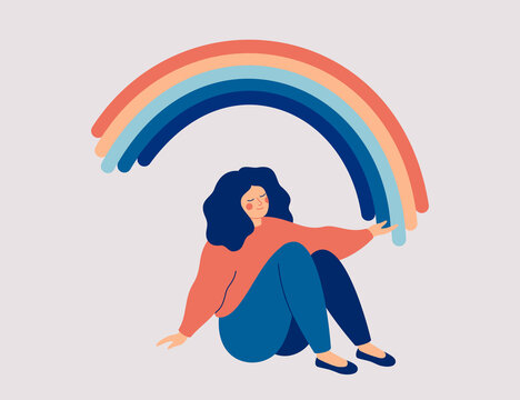 Happy woman sits on the floor and draws her arms to the rainbow. Smiled girl creates good vibe around her. Smiling female character enjoys her freedom and life. Body positive and health care concept