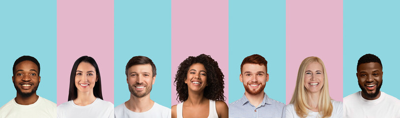 Multiethnic Females And Males Portraits, Pink And Blue Backgrounds, Collage