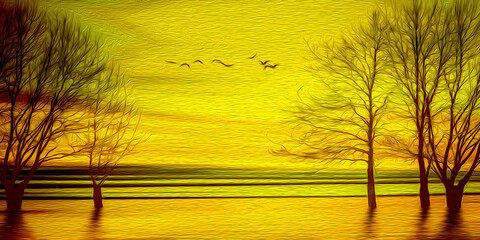 Yellow dawn on a spring morning. Imitation of oil painting. 3D illustration.