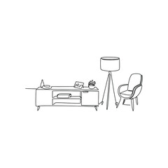 one continuous line. Stylish living room interior, plant chairs and decorative lighting table, vector illustration