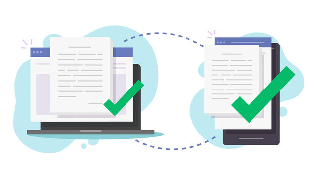 Share files wirelessly between computer pc and mobile cell phone vector, transfer digital documents via smartphone and laptop, send info data between connected devices via wifi