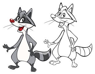 Illustration of a Cute Cartoon Character Raccoon for you Design and Computer Game. Coloring Book Outline Set