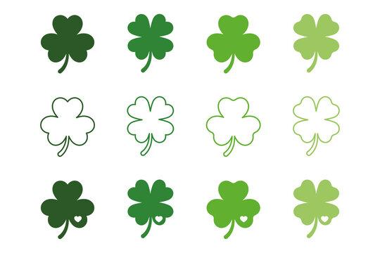 Shamrock, 4 leaf clovers set, silhouette,St.Patrick's Day