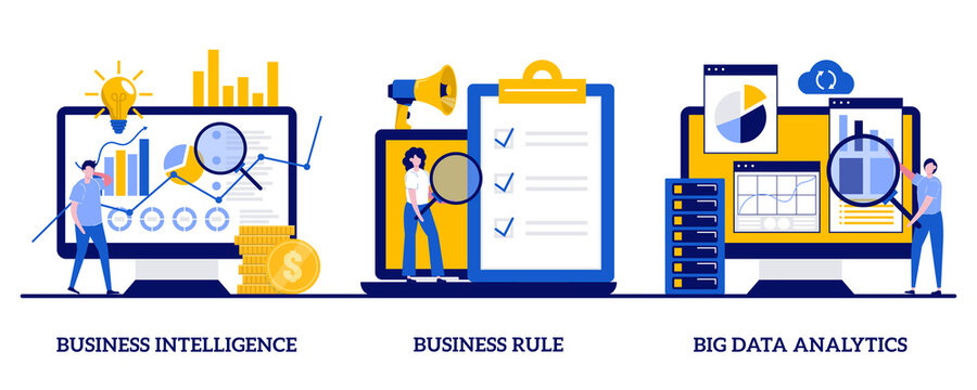 Business Intelligence, business rule, big data analytics concept with tiny people. Enterprise strategy development abstract vector illustration set. Application software, data management metaphor