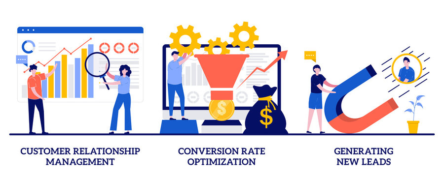 Customer relationship management, conversion rate optimization, generating new leads concept with tiny people. CRM lead abstract vector illustration set. Sales data, marketing software metaphor
