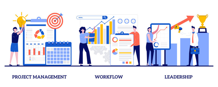 Project management, workflow, leadership concept with tiny people. Business management abstract vector illustration set. Waterfall, agile, development team, productivity software, coaching metaphor