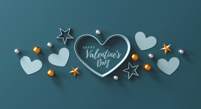 happy valentine's day banner. heart, gift and box on green background. space for text. 3D illustration