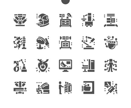 Robotic Surgery. Apparatus for internal inspection of organs. Control of a robot surgeon. Surgical operation using a robot. Artificial heart. Vector Solid Icons. Simple Pictogram