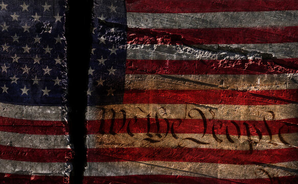 Distressed US flag split in two with We The People constitution text