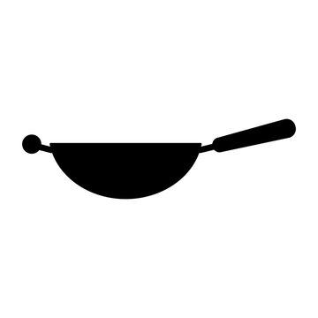 Wok frying pan glyph icon. Kitchen appliance