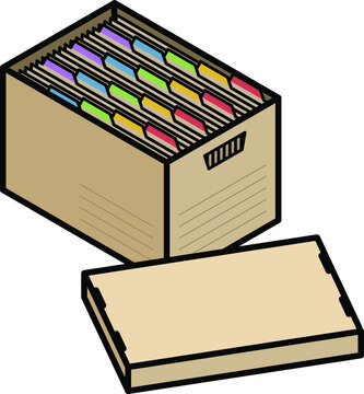 A filing box with colourful divider tabs.