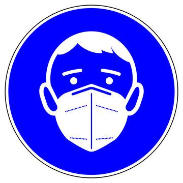 shas672 SignHealthAndSafety shas - german - Gebotszeichen in blau - FFP2 Maskenpflicht. - englisch: mandatory sign - FFP2 respirator - round blue g10121