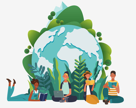 Young people group reading books. Study, learning knowledge and education vector concept. Eco friendly ecology poster. Nature conservation illustration