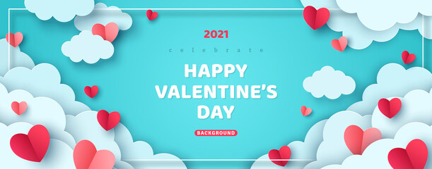 Horizontal banner with paper cut clouds and flying hearts in blue sky, papercut craft art. Place for text. Happy Valentines day sale concept, voucher template with square frame.