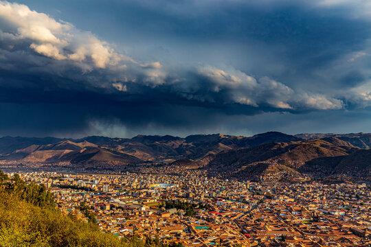 Peru. Cusco, historic city of the Inca Empire - aerial view from Pukamuqu mountain (Cristo Blanco Mirador)