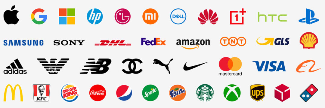 Famous company logo. Collection of popular brand logo. Apple, Google, Microsoft, Amazon, Samsung, Coca Cola, Nike, Adidas. Top brand logos. Editorial. Rivne, Ukraine - January 12, 2021.