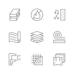 Obraz Set line icons of insulation - fototapety do salonu
