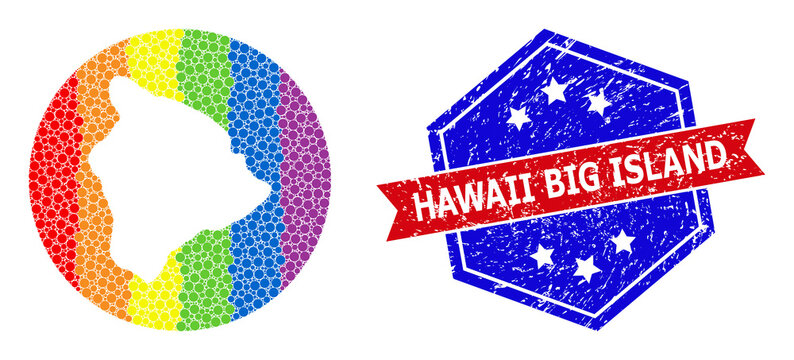 Spectral Dotted Map of Hawaii Big Island Mosaic with Hole for LGBT and Grunge Bicolor Badge