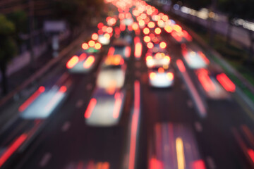 High Angle View Of Traffic On Road At Night - fototapety na wymiar