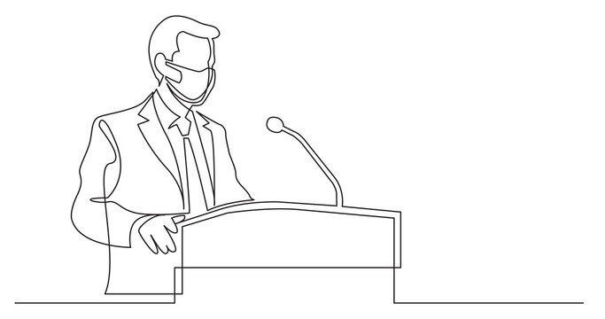 continuous line drawing of businessman wearing face mask talking before audience