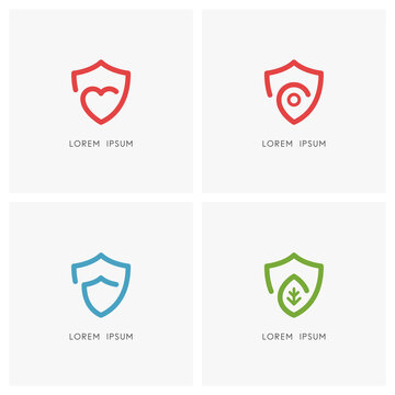 Protection outline logo set. Shield, heart, address pointer and green leaf symbol - health care and medicine, charity and social work, love and safety, security and defense, ecology and nature icons.