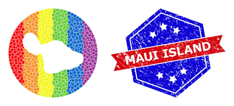Spectrum Pixelated Map of Maui Island Mosaic with Subtracted Space for LGBTQ and Grunge Bicolor Seal
