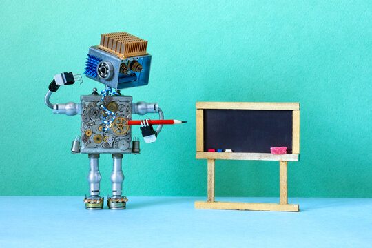 Robotics education machine learning concept. Robot teacher red pencil pointer, abstract classroom interior with empty blackboard. Green wall blue floor background. mockup chalkboard.