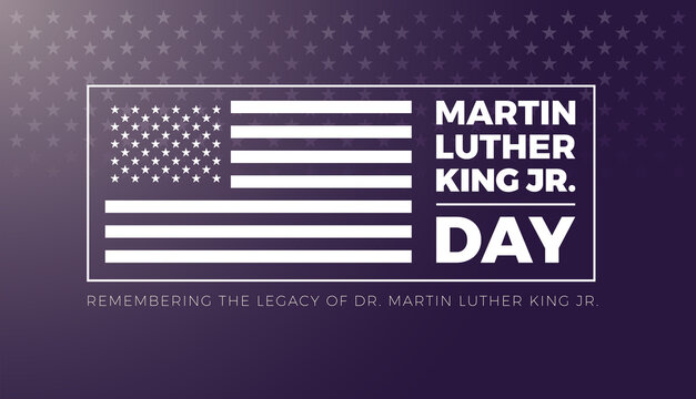 Martin Luther King Jr Day lettering and USA flag - vector illustration