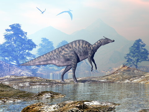 Saurolophus dinosaur walking in a beautiful landscape with mountains and water by sunset - 3D render