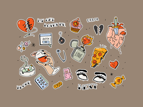 Set of stickers for Valentine's Day. Broken heart in tattoo style. Vector set of trendy linear hipster symbols - mono line tattoo graphics. For the design of stickers and patches