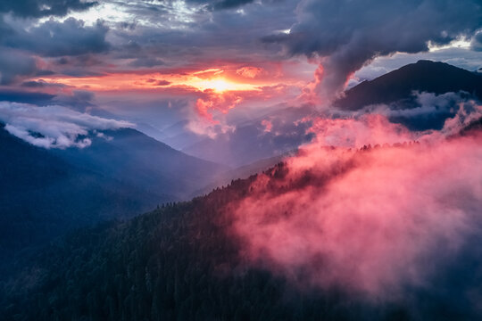 Aerial view of sunset in the mountains of Caucasus nature reserve, Russia